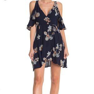 J.O.A Cold Shoulder Floral Print High/Low Dress